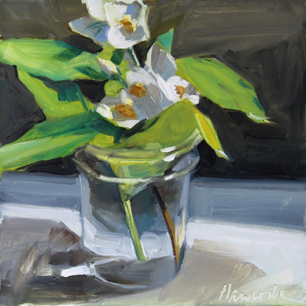 """Mock Orange Blossoms in a Glass Jar on Gray"" original fine art by Gretchen Hancock"