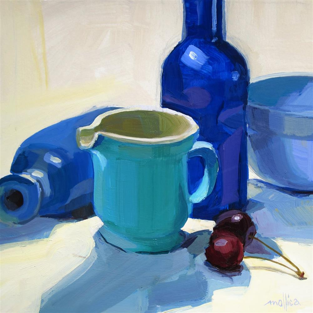 """Blue Bottles and Bowl"" original fine art by Patti Mollica"