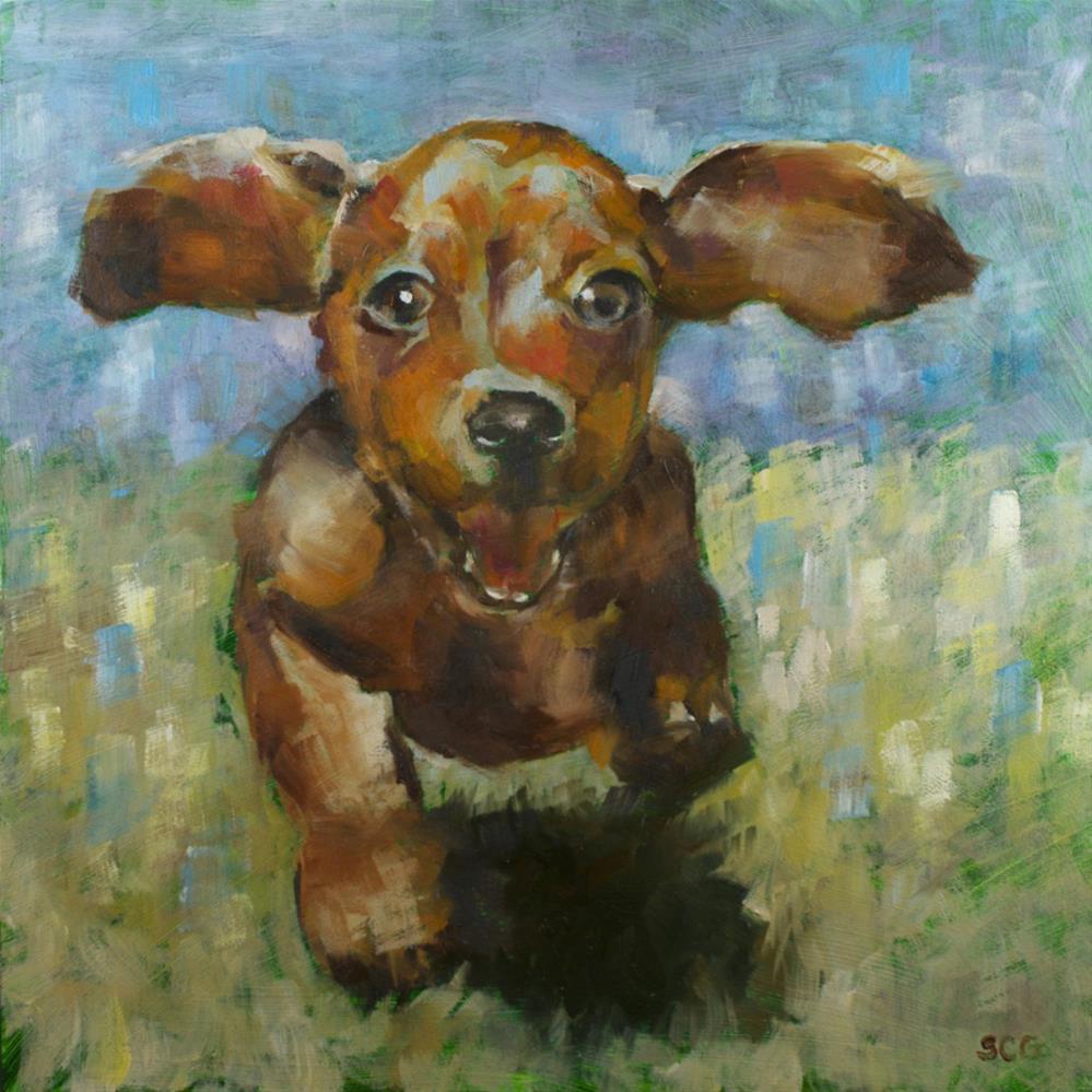 """Pet #7: Happy, Happy, Happy!"" original fine art by Sue Churchgrant"