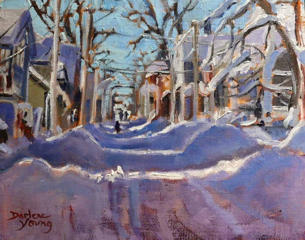 """829 Charlottetown Snowy Street, 8x10, oil"" original fine art by Darlene Young"