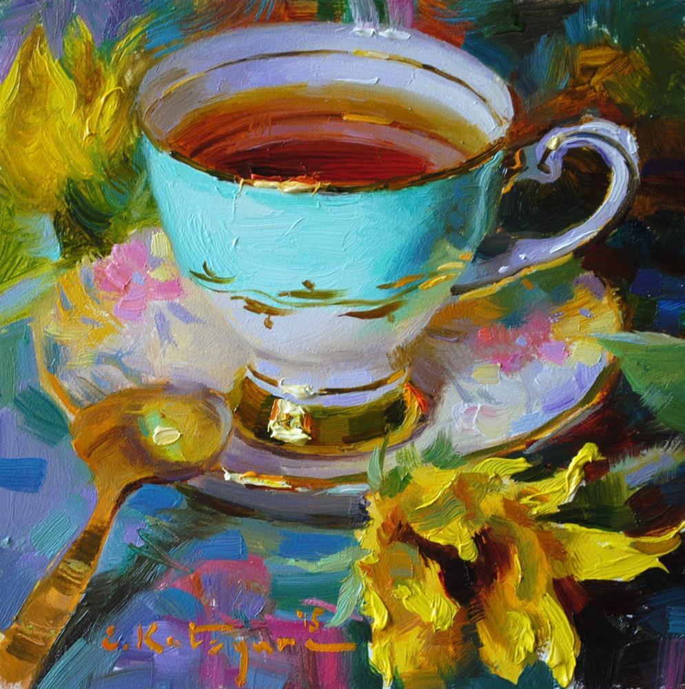 """Sky Cup and Sunflower"" original fine art by Elena Katsyura"