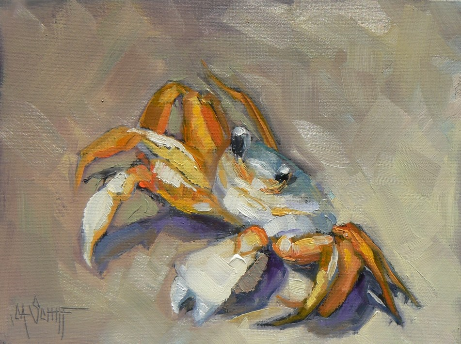 """Daily Painting, Sand Crab Stand Off 6x8"" original fine art by Carol Schiff"
