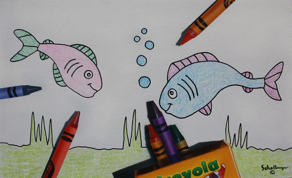 """Fishy Fun"" original fine art by Fred Schollmeyer"