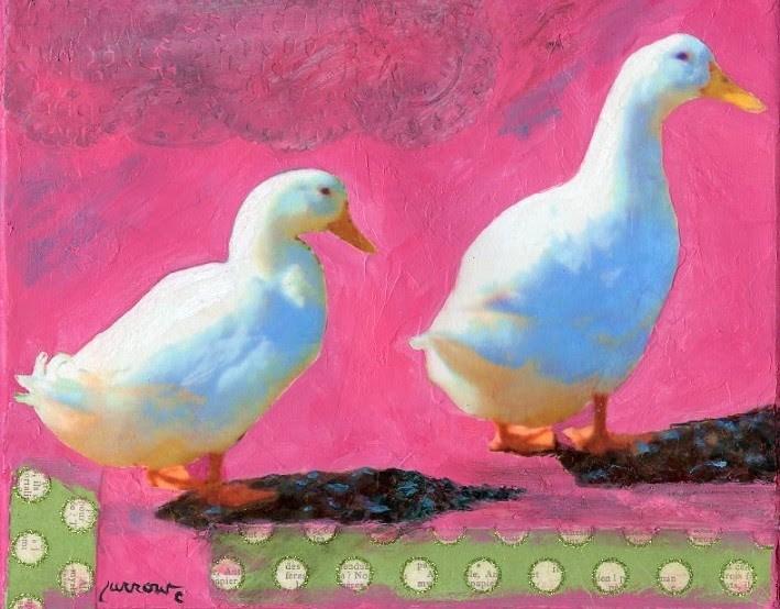 """Ducks  Collage"" original fine art by Sue Furrow"
