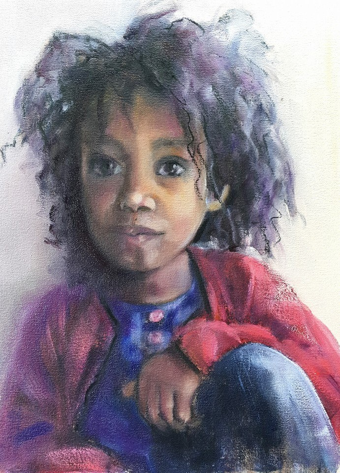 """Babygirl Esther"" original fine art by Rentia Coetzee"