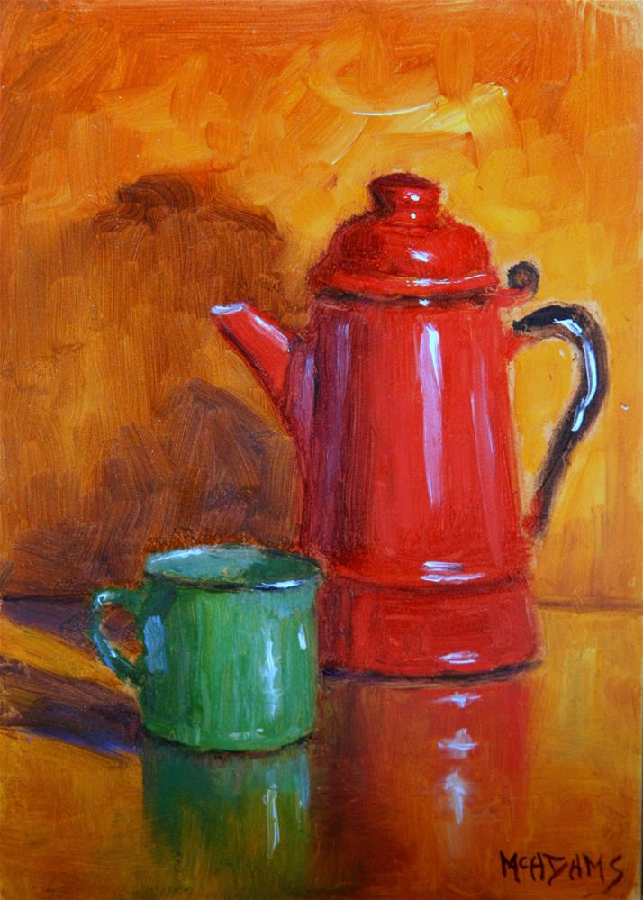 """""""Old Tin Cup and Coffee Pot"""" original fine art by Phyllis McAdams"""