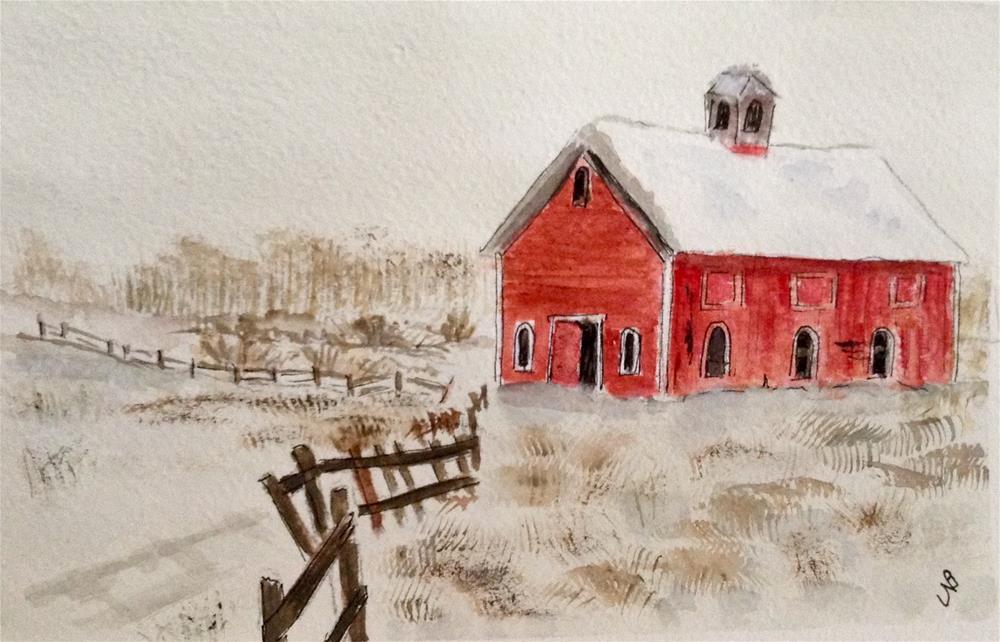 """""""Red Barn #3 watercolor / ink 4 1/2 x 6 3/4"""" original fine art by Nancy Beard"""