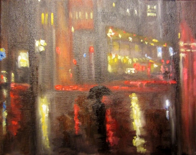 """Rainy lights at night"" original fine art by Astrid Buchhammer"