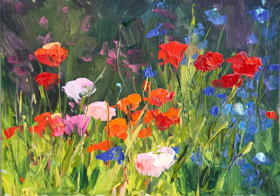 """KMD2784 Spring's Lush Gifts (floral, 5x7, original oil by Contemporary Colorado Artist Kit Hevron Ma"" original fine art by Kit Hevron Mahoney"