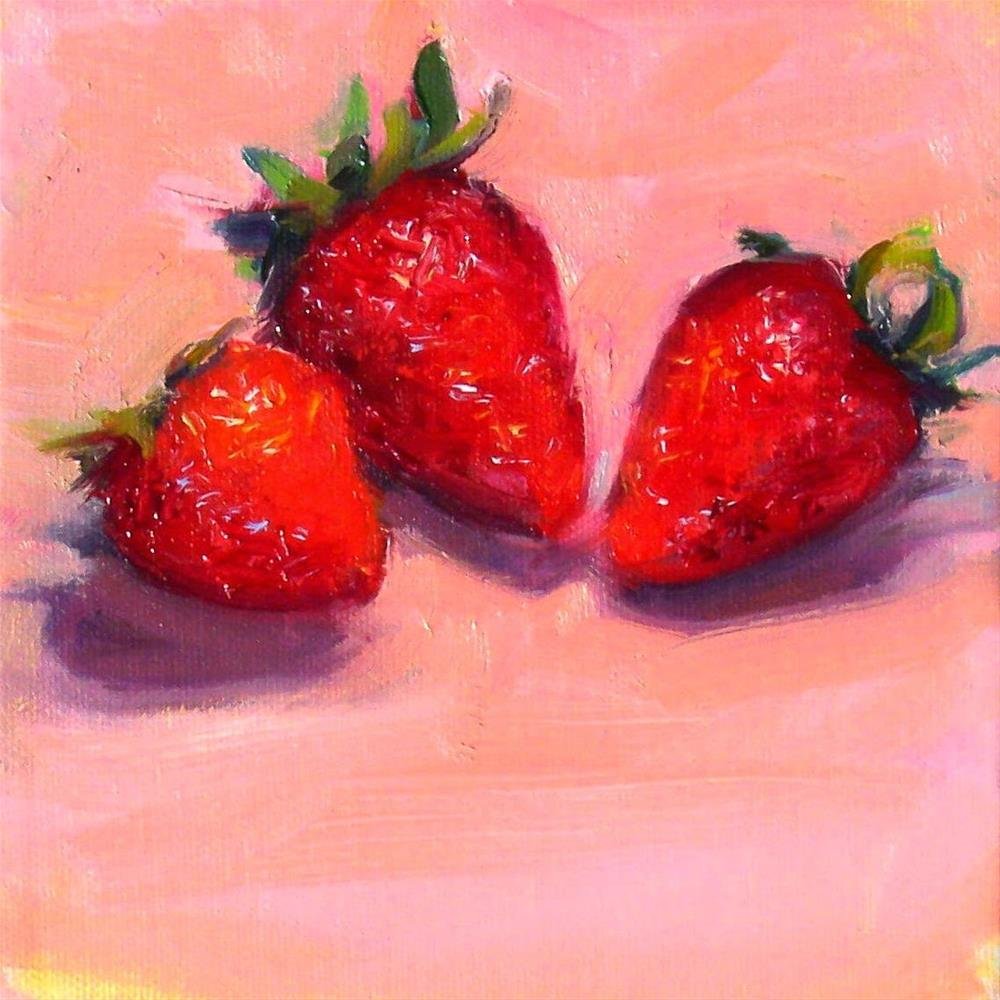 """Singing Strawberries,still life,oil on canvas,6x6,price$175"" original fine art by Joy Olney"