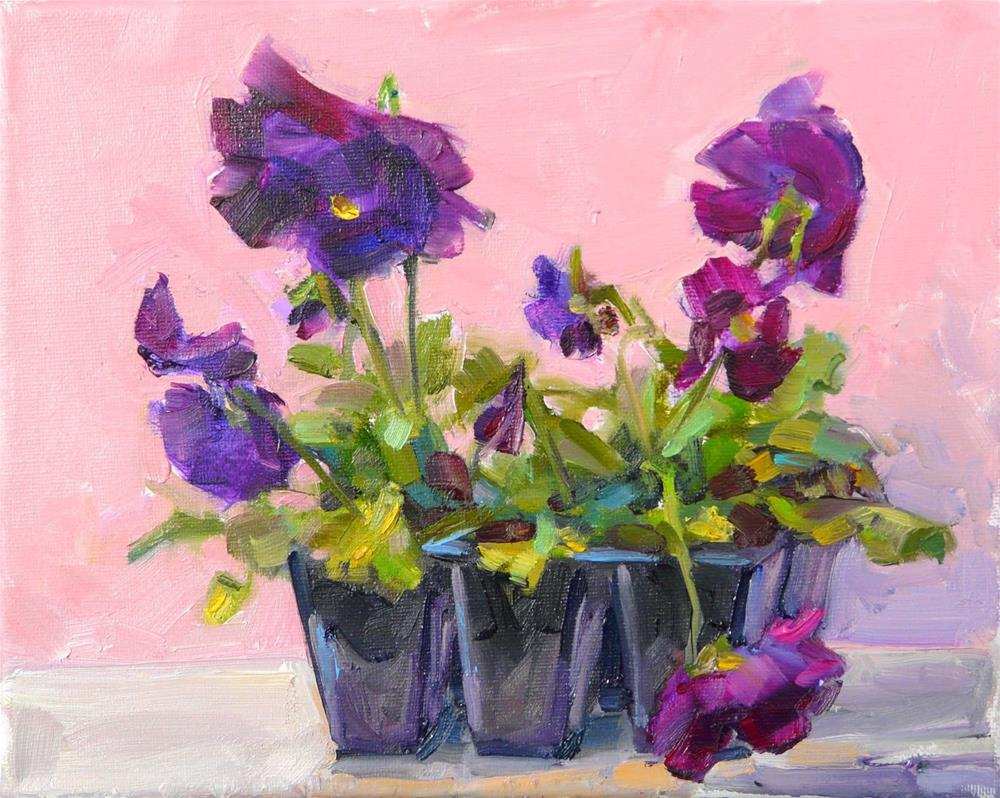 """Pots of Purple Pansies,still life,oil on canvas,8x10,price$250"" original fine art by Joy Olney"