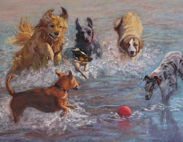 """Fetch!"" original fine art by Ruth Mann"