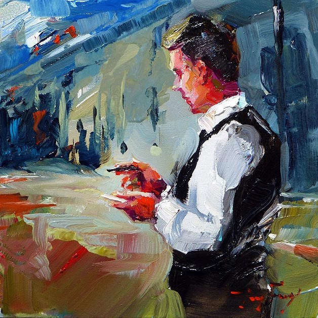 """waiter"" original fine art by Jurij Frey"