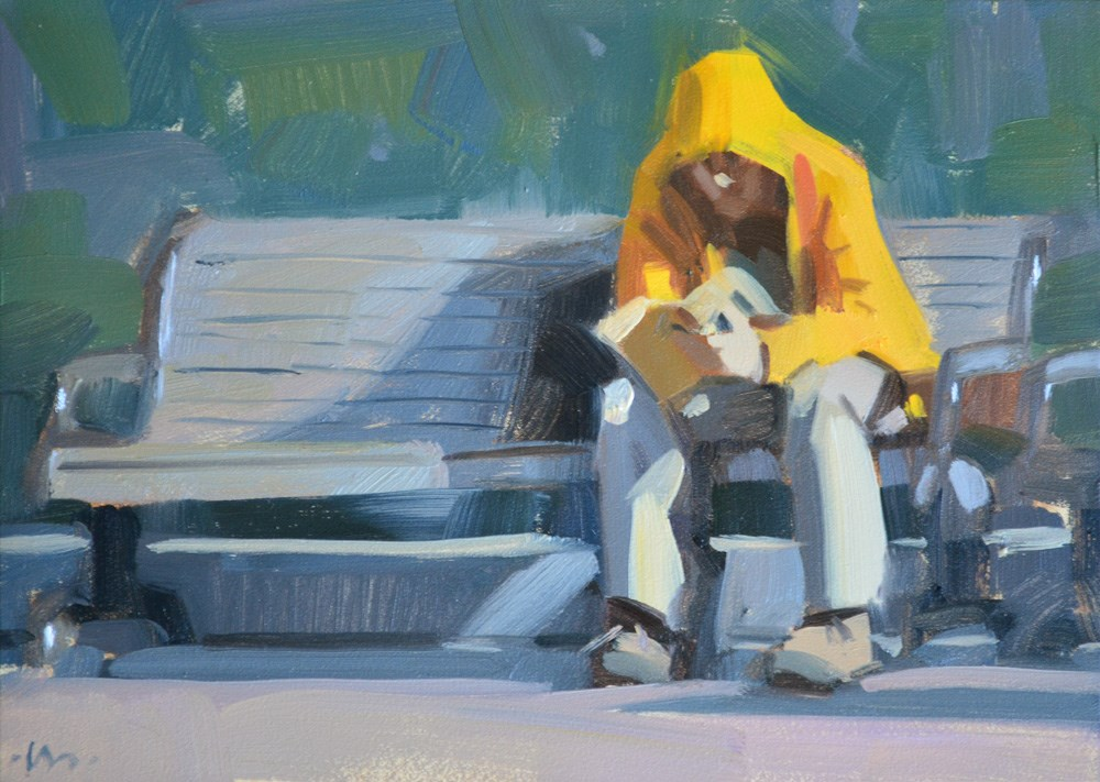 """Hooded Reader"" original fine art by Carol Marine"