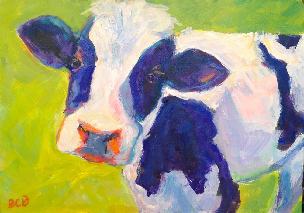 """Here's looking at Moo!"" original fine art by Beth Carrington Brown"