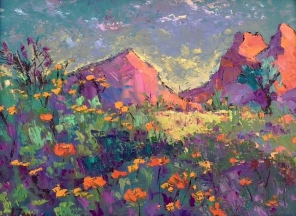 """""""Arizona Wildflowers"""" original fine art by Liz Zornes"""