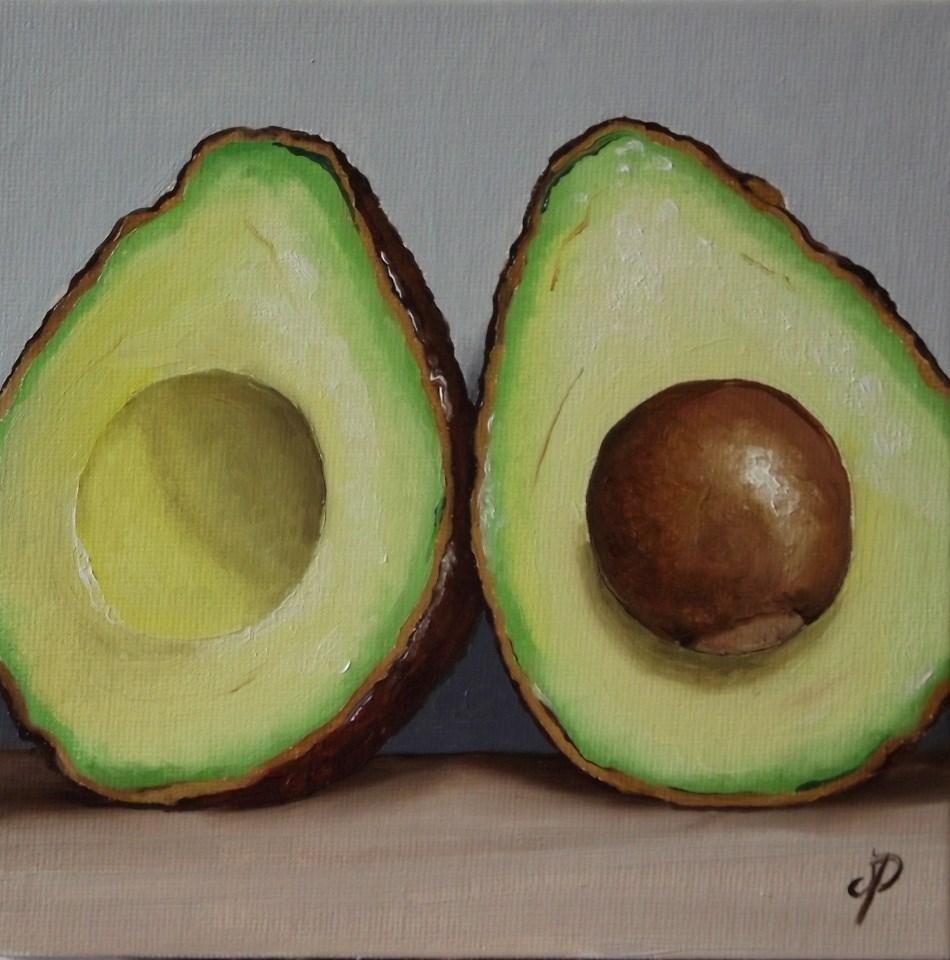 """Avocado halves"" original fine art by Jane Palmer"