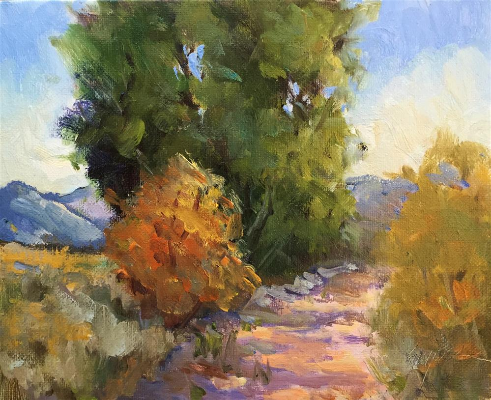 """A Warm Day on the Hiking Path"" original fine art by Connie Snipes"