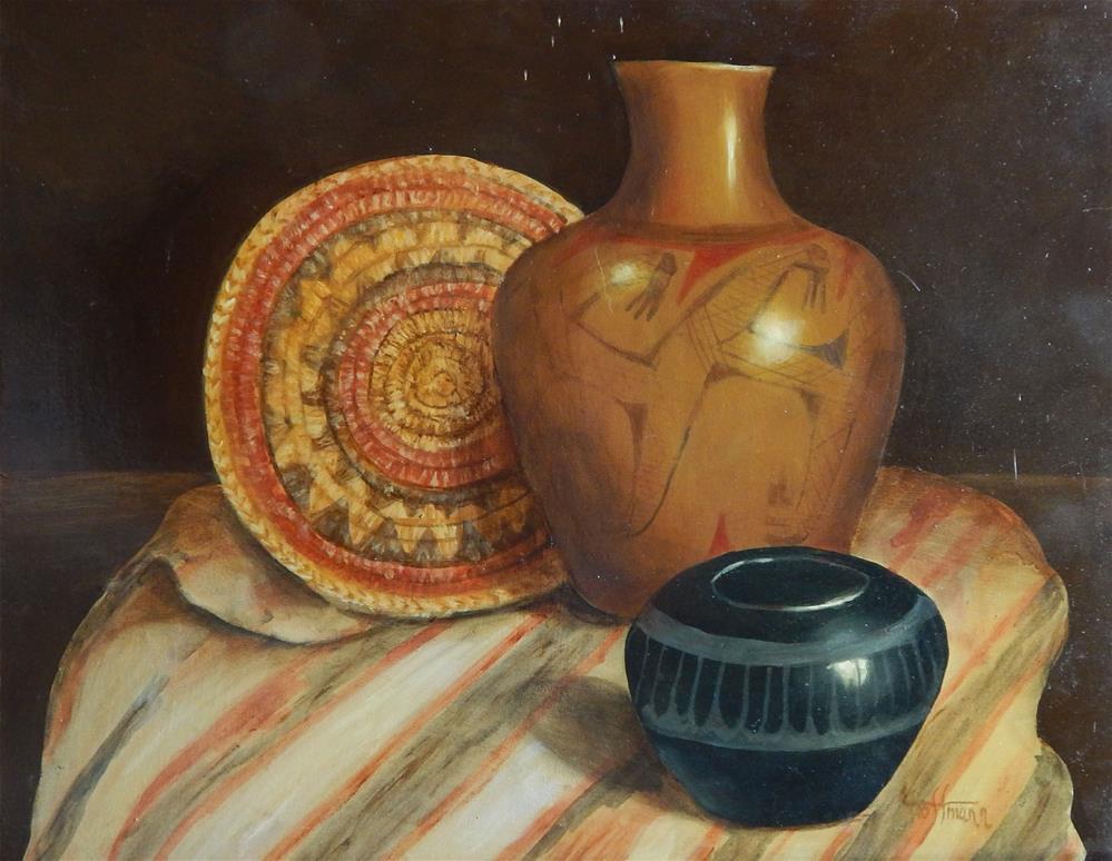 """Indian Basket 2"" original fine art by Lina Ferrara"