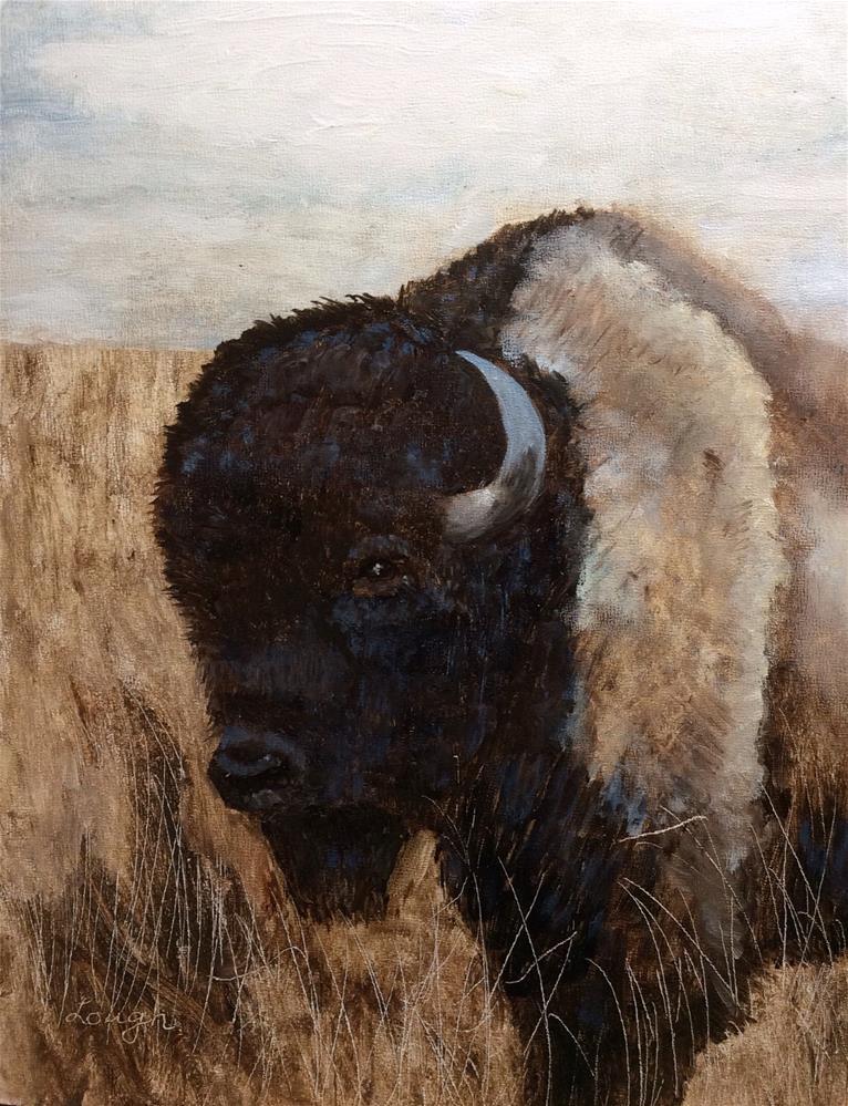 """Tall grass Prairie Buffalo"" original fine art by Charlotte Lough"