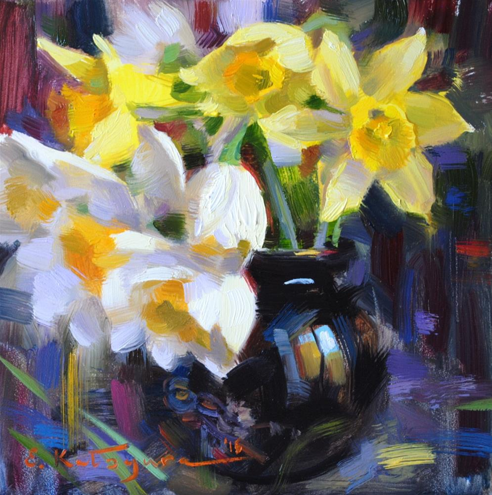 """Daffodils in Vase"" original fine art by Elena Katsyura"