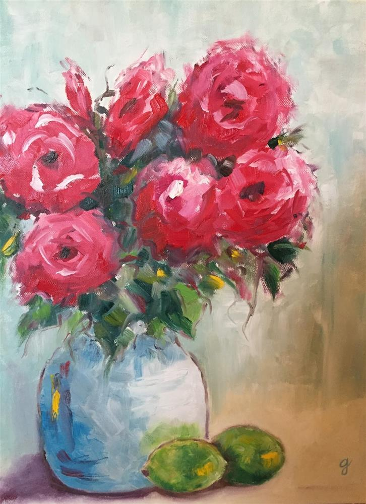"""Roses and Limes"" original fine art by Gayle Lambeth"