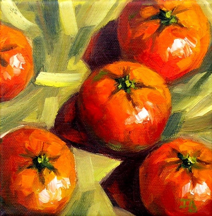 """Tangerines"" original fine art by Irina Beskina"