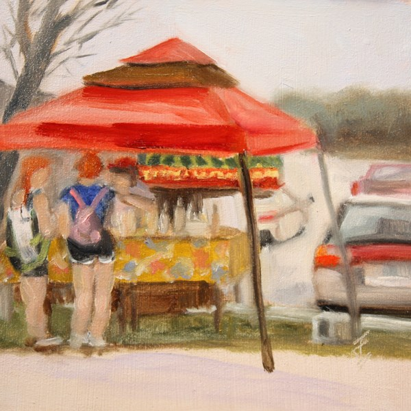 """Red Tent"" original fine art by Jane Frederick"