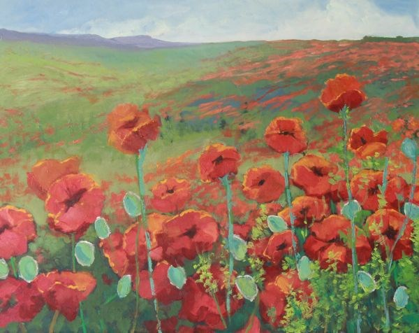 """Tuscan Landscape Oil Painting, Poppies Field of Poppies II by Colorado Landscape Artist Susan Fowl"" original fine art by Susan Fowler"