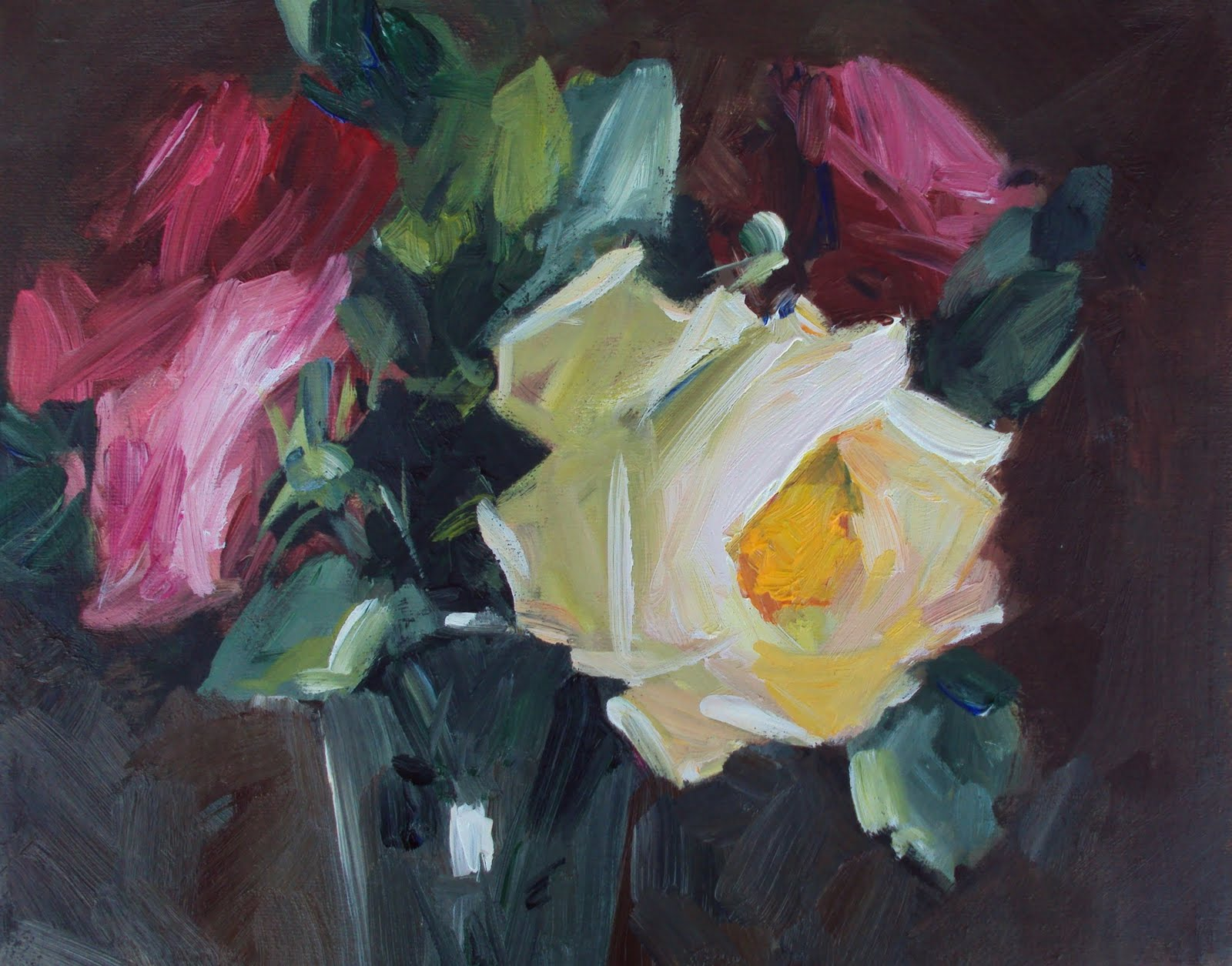 """English cottage roses"" original fine art by Parastoo Ganjei"