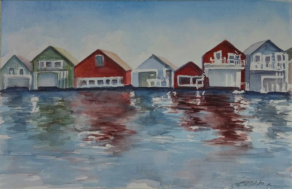 """Boat Houses"" original fine art by Christine Blain"