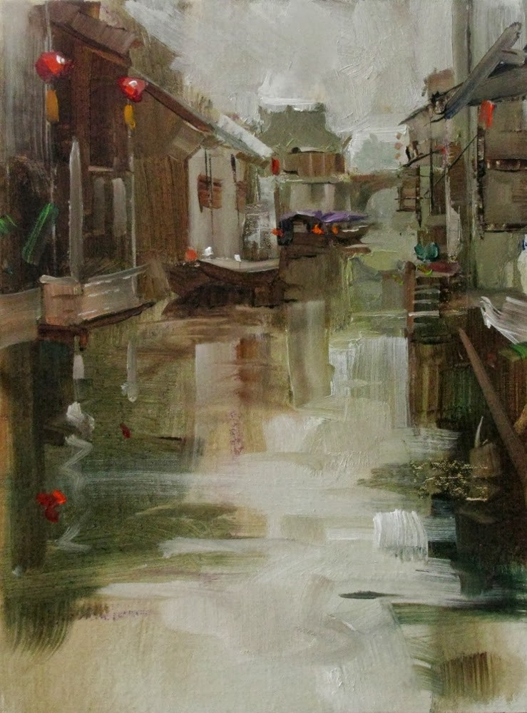 """""Zhouzhuang Reflections"" original fine art by Qiang Huang"