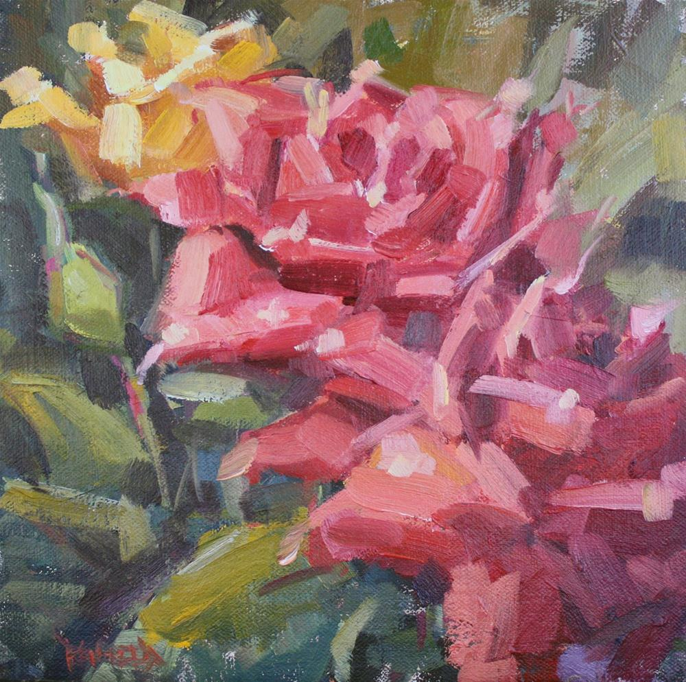 """Yellow and Coral Roses"" original fine art by Cathleen Rehfeld"