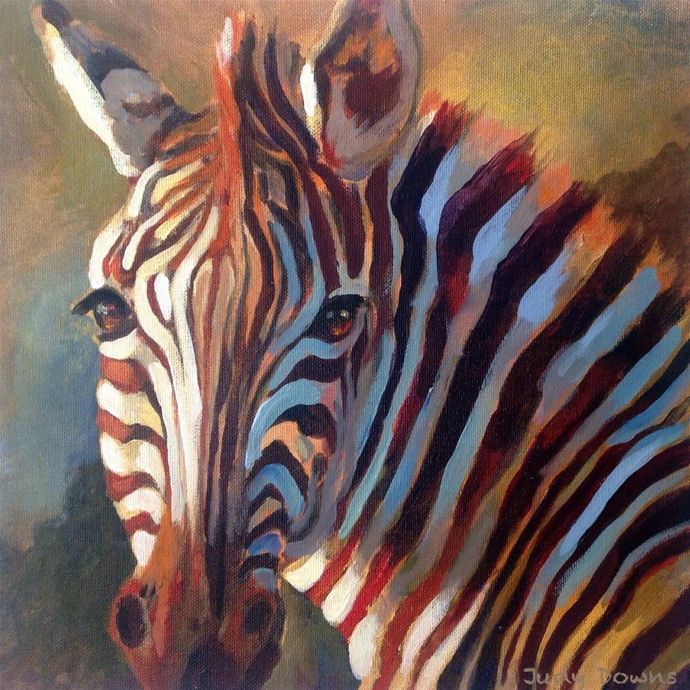 """Zebra at dusk"" original fine art by Judy Downs"
