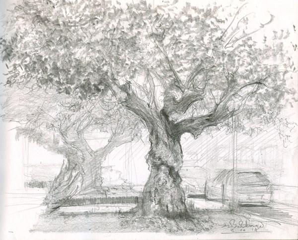 """Twin Trees on Maxwell Street (5) Chelsea Marathon"" original fine art by Adebanji Alade"