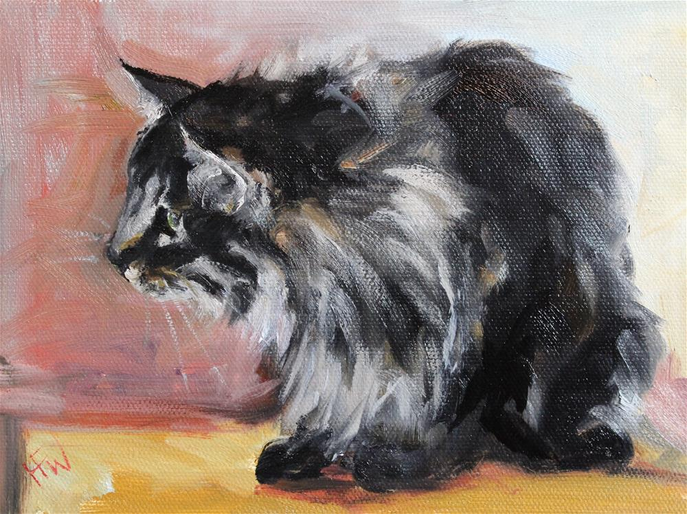 """Fluffy Tabby"" original fine art by H.F. Wallen"
