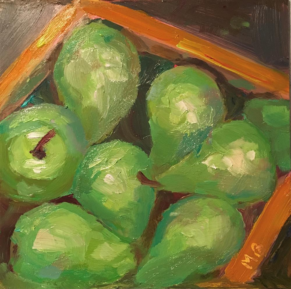 """Box of Pears"" original fine art by Marcia Bergtholdt"