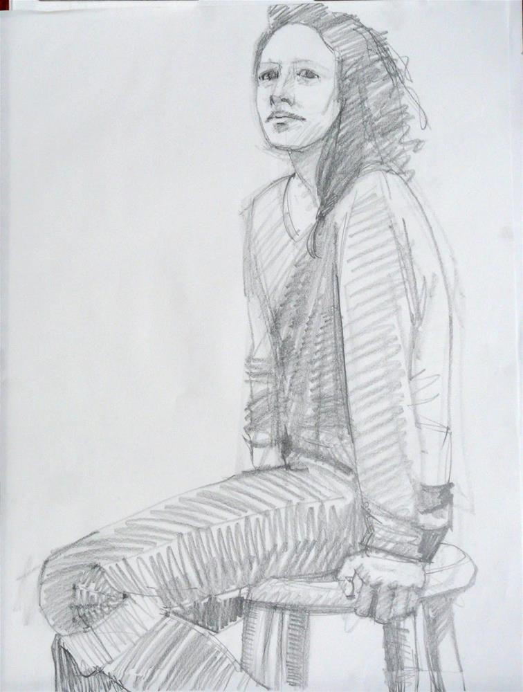 """Jena on Stool,figureative,graphite drawing on paper,24x18,price$100"" original fine art by Joy Olney"