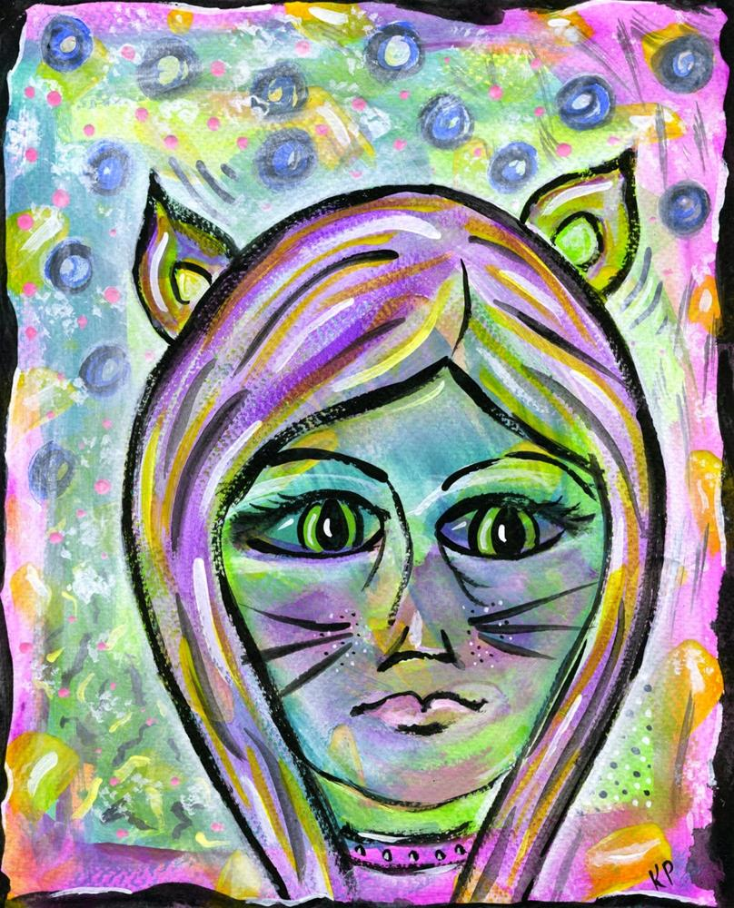 """Cat Woman"" original fine art by Kali Parsons"