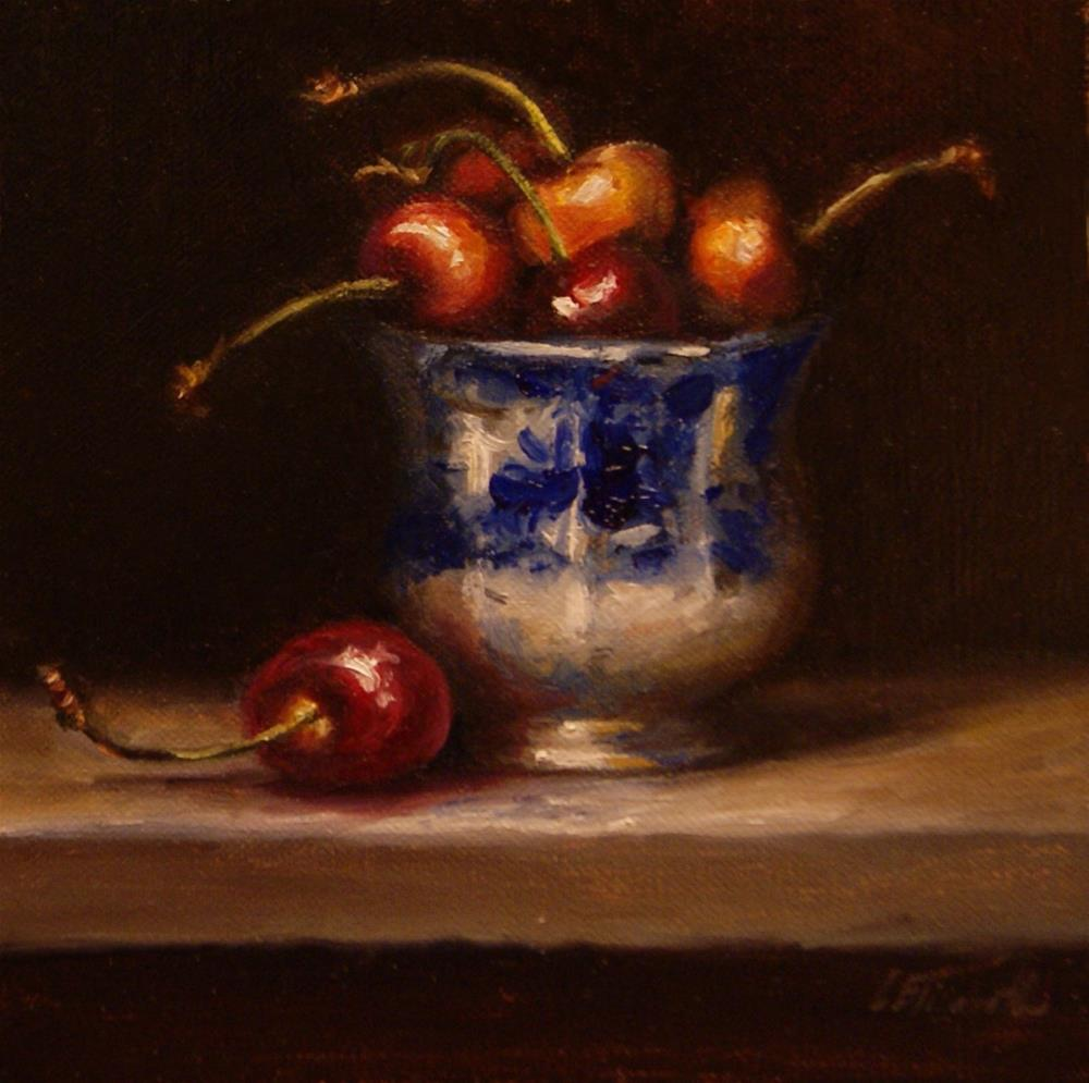 """Flow Blue Cup and Cherries,  Oil on 4x6 Linen Panel"" original fine art by Carolina Elizabeth"