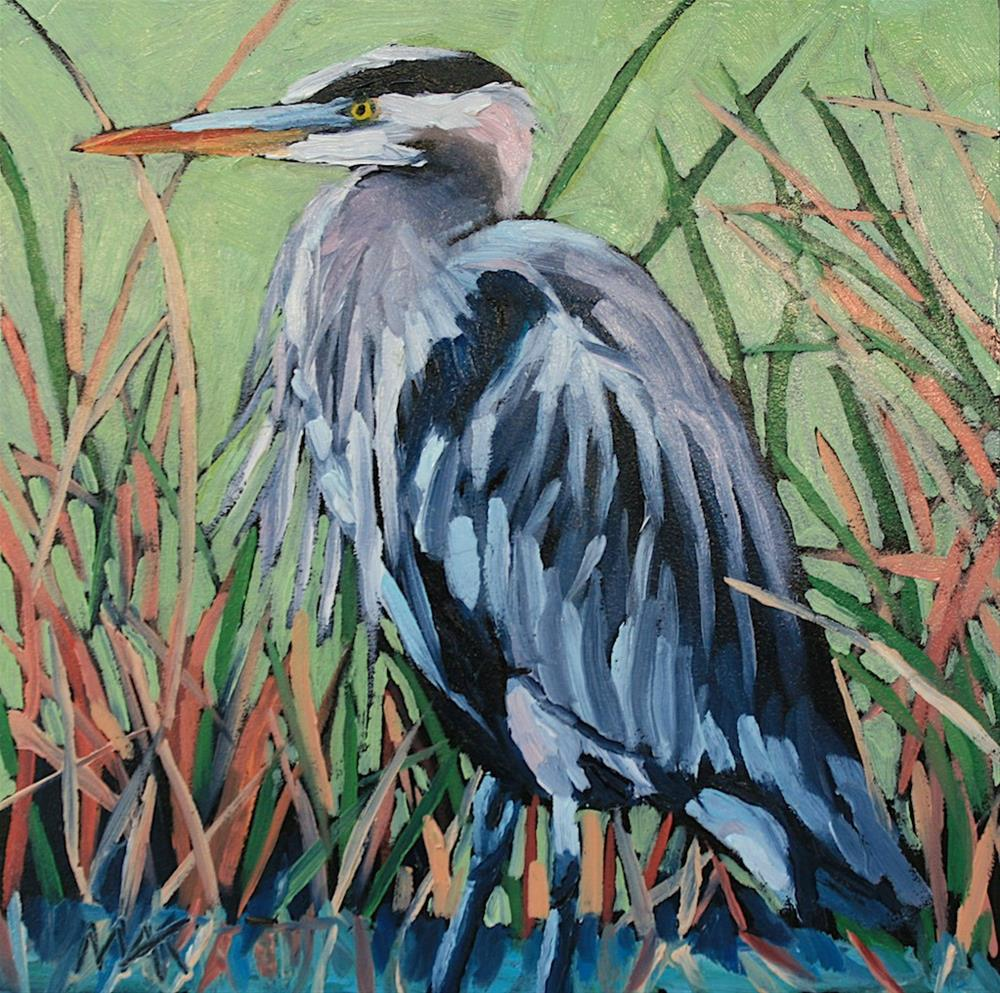"""Great Blue Heron"" original fine art by Mary Anne Cary"