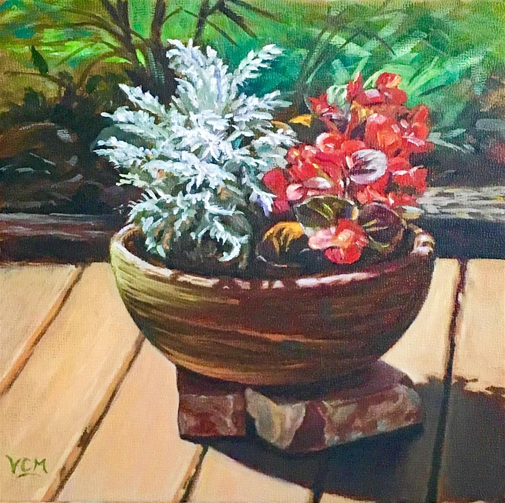 """Red Begonias & Silverdust"" original fine art by Vana Meyers"