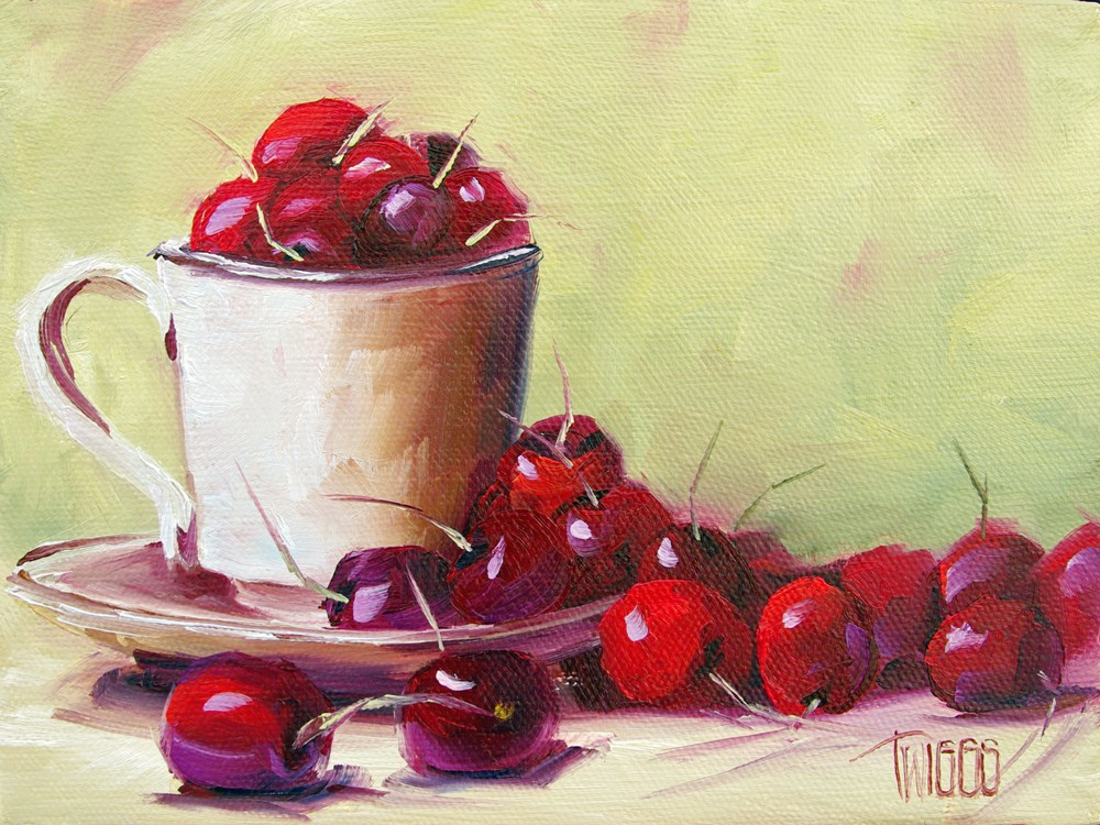 """Cherry Spill"" original fine art by Lori Twiggs"