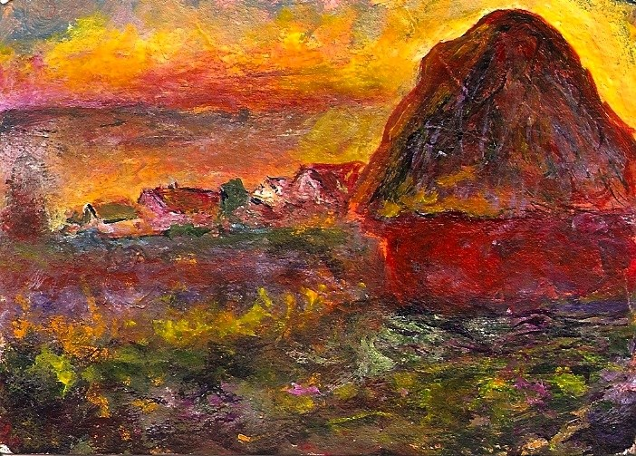 """ACEO Haystack at Sunset in the Style of Monet Acrylic Mini Master Penny StewArt"" original fine art by Penny Lee StewArt"