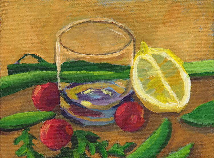 """Glass and Colourful Salad"" original fine art by J M Needham"