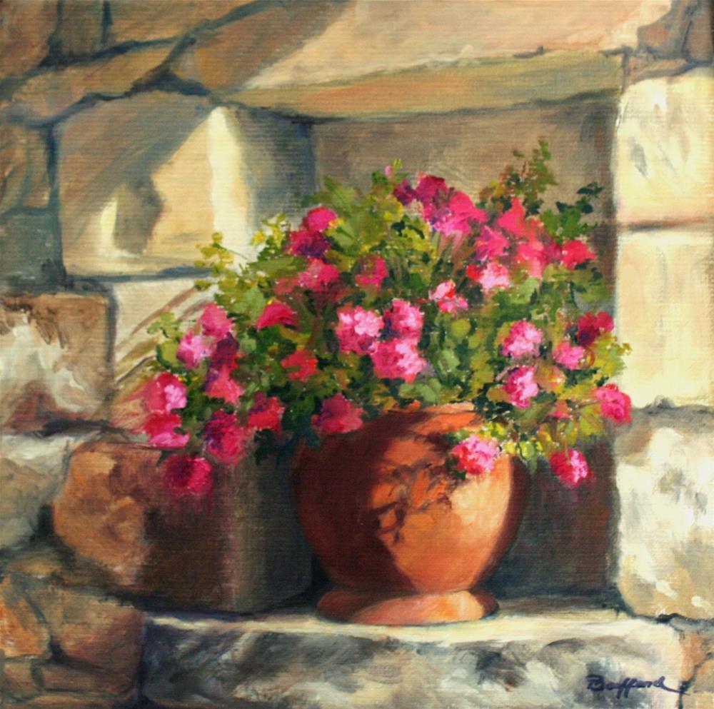 """""""Garden Niche II - Oil"""" original fine art by Vikki Bouffard"""