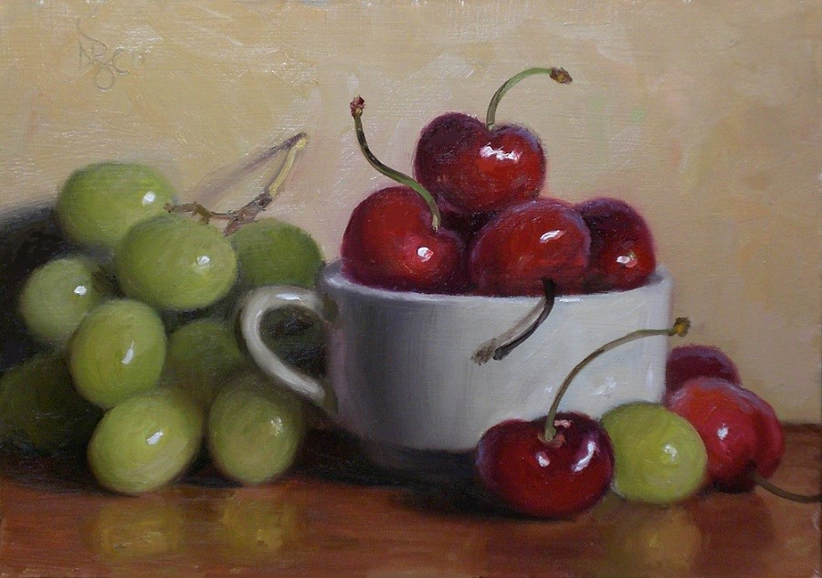 """Cherries and Grapes"" original fine art by Debra Becks Cooper"