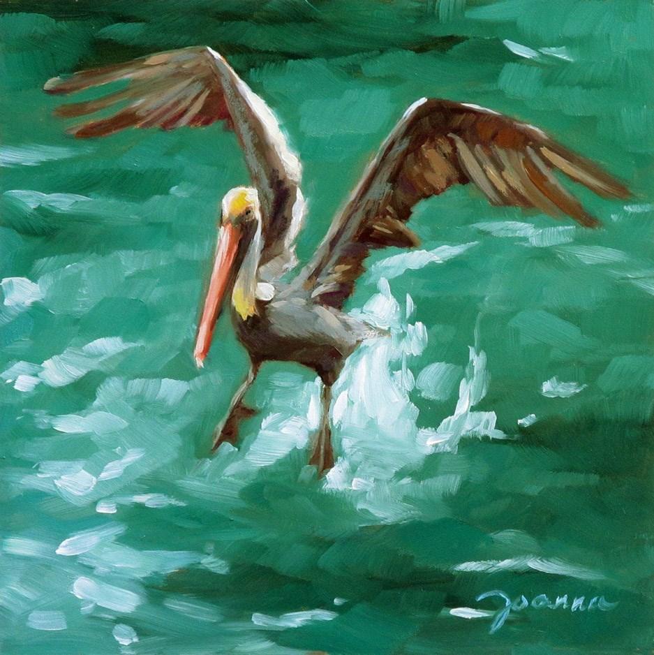 """Landing Pelican"" original fine art by Joanna Bingham"