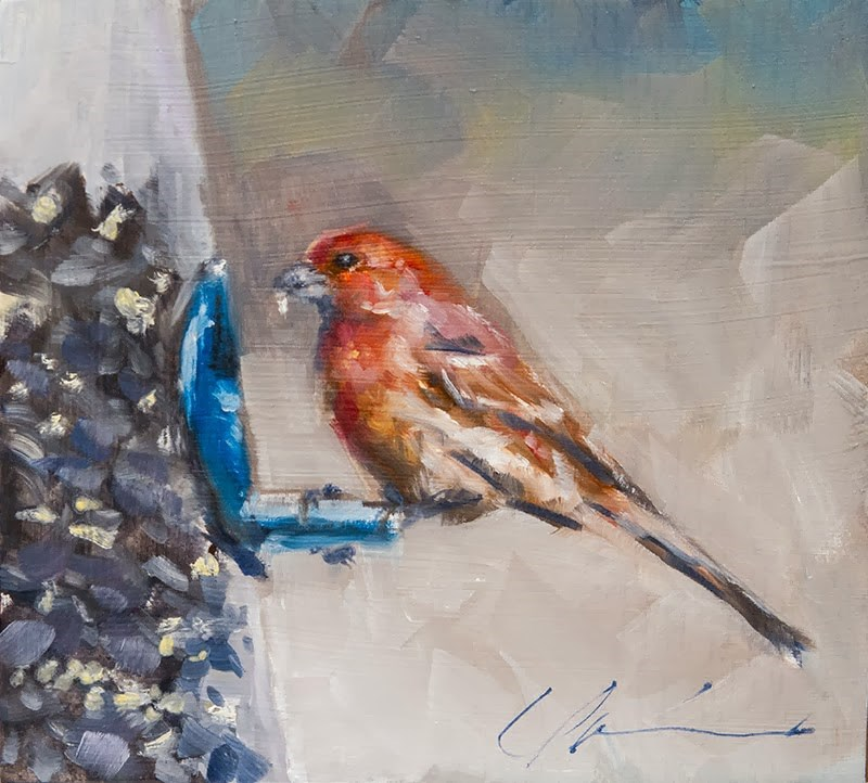 """Merry Christmas Finch"" original fine art by Clair Hartmann"