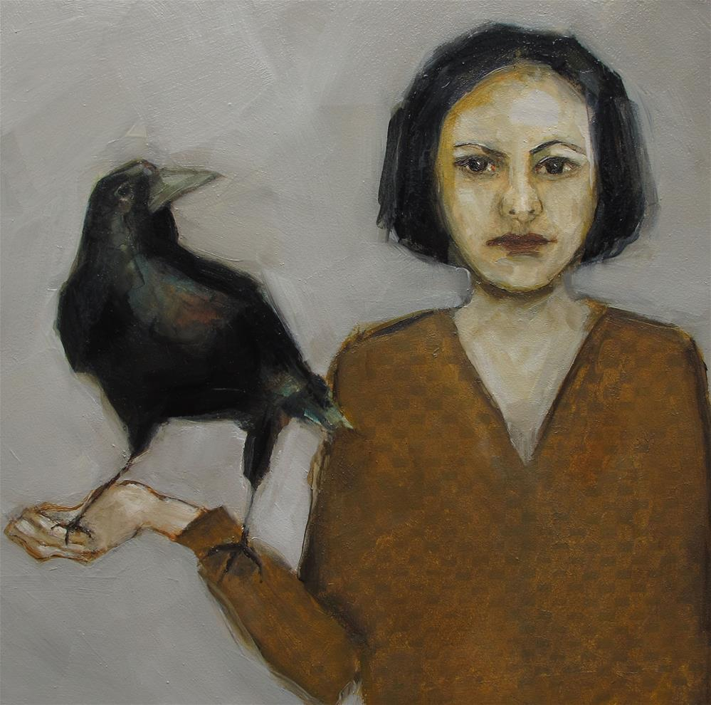 """ORIGINAL Portrait Crow Raven Black Bird Goth 8x8 Colette Davis Art Painting OIL"" original fine art by Colette Davis"
